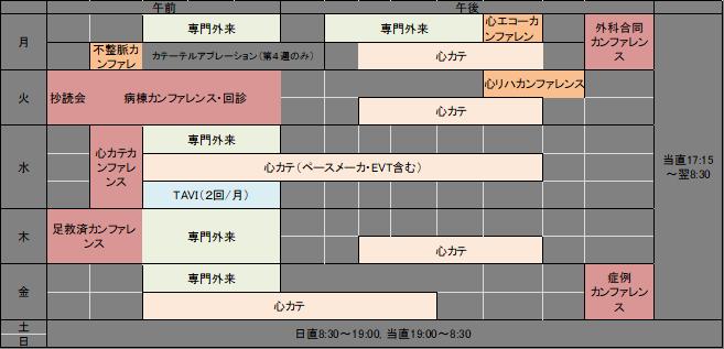 循環器内科 スケジュール