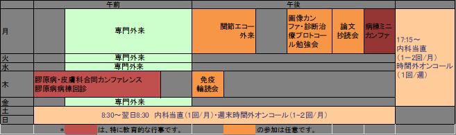 膠原病・リウマチ内科 スケジュール